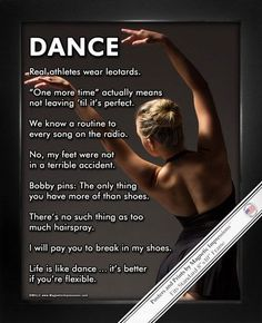 """Life is like dance, it's better if you're flexible."" An elegant dancer and witty sayings make Dancer Modern Poster Print the perfect dance gift. This poster combines humor and inspirational dance quo"