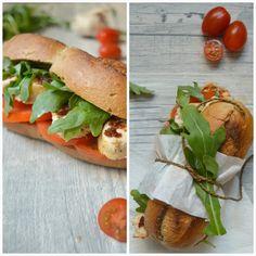 Chicken-Sandwich Burger mit Tomatenpesto und Rucola