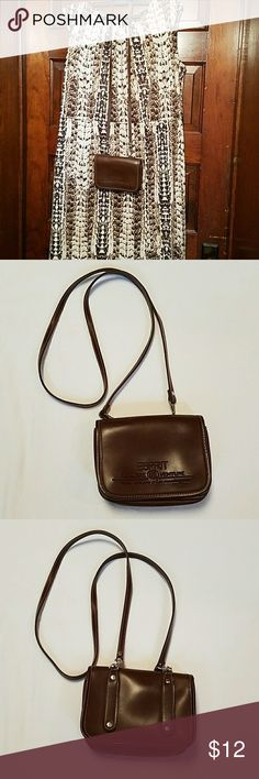 Esprit Explore Venture Brown Mini Crossbody Purse Removable strap, clean and cute little purse. Great for hiking or when you don't need much other than id and a few essentials. Like at a flea market. Leather look polyvinyl in very good condition with only a small area on the inside flap that has pen marks. Add the dress and rose scarf from my other listings. (posh7) Esprit Bags Crossbody Bags