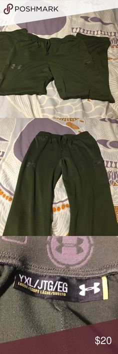 Under armor green athletic pants Green slick athletic pants Under Armour Pants Track Pants & Joggers