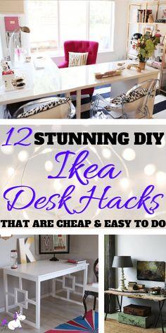 61 ideas for diy desk organization cheap ikea hacks Ikea Hacks, Desk Hacks, Ikea Furniture Hacks, Hacks Diy, Ikea Hack Desk, Ikea Corner Desk, Ikea Office Hack, Office Hacks, Furniture Websites