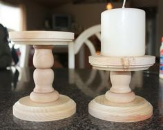 i had some of these wood things hanging around the house so i made some candle holders for my mantle Handmade Candle Holders, Pillar Candle Holders, Handmade Candles, Candle Lanterns, Diy Candles, Candle Jars, Rustic Candles, Candle Sticks, Rustic Crafts