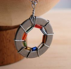 Bead wire wrapped washer necklace 3