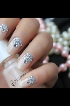This would look nice too. Rhinestone Nails go neutral with color but pop of diamonds match them with accessories