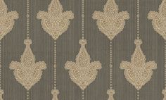 Sabrina (35062) - Albany Wallpapers - An all over, vinyl damask motif design on a textured striped background. Shown here in charcoal and gold. Other colourways are available. Please request a sample for a true colour match.