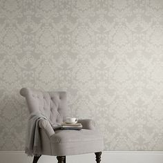 Buy John Lewis & Partners Ornamental Damask Wallpaper, Smoke from our Wallpaper range at John Lewis & Partners. Damask Wallpaper Living Room, Wallpaper Lounge, Smoke Wallpaper, Living Room Grey, Living Room Decor, Bedroom Decor, Bedroom Ideas, Dining Room, Wall Decor