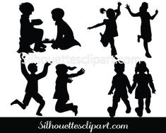 Children Silhouette Vector Graphics