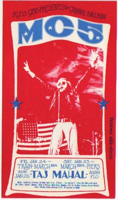 This is a near mint condition original first/only printing concert postcard advertising Fillmore era shows at the Grande Ballroom in Detroit, MI on 01/24-26/69 BY THE MIGHTY MC5, TAJ MAHAL, THE PIERS