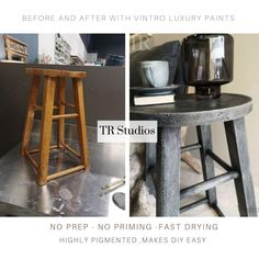 Stool style side table, solid wood and hand painted in Vintro Chalk Paint. Gilding Wax, Dark Mahogany, Modern Contemporary Homes, Gold Table, Subtle Textures, Country Style Homes, Rustic Feel, Rustic Industrial, Plant Holders