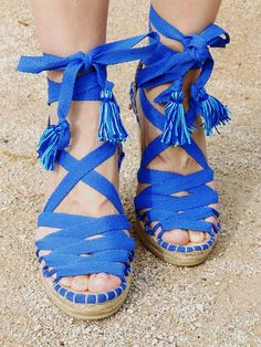 a14b2b4f1c6 Blue Hight Wedge Sandals Spanish espadrilles Boho style Alpargatas made in  Spain