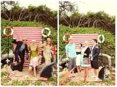 Who would not want to be involved with this backdrop.  sailor wedding photobooth by the sea