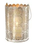 great site for party decor supply - Large Punched Tin Shadow Lantern (sunburst design)