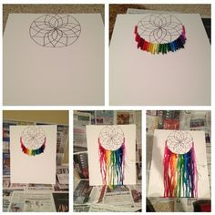 Dreamcatcher melted crayon art: 1) Sketch dreamcatcher onto foam board with pencil, then outline in sharpie 2) Peel crayons (optional), break in half, and use a hot glue gun to attach to board 3) Cover floor and wall with newspaper and lean board at an angle 4) Heat crayons with a blow dryer, pointing downward