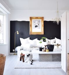 Half and halv wall paint black eclectic bohemian gold vintage frame diy