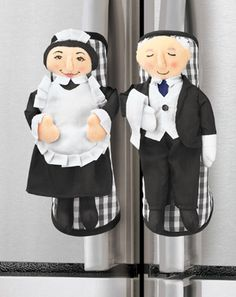The Help Butler & Maid Fridge Handle Covers Fridge Handle Covers, Collections Etc, Kitchen Helper, Soft Sculpture, Doilies, Pot Holders, Sewing Crafts, The Help, Harajuku