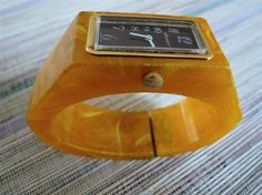 Vintage Royal Dynasty faux bakelite butterscotch clamper bracelet watch