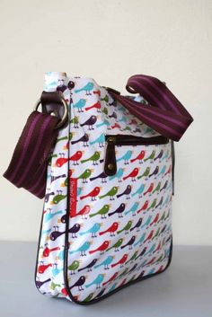 nicky james birds oil cloth crossbody bag image 1