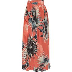 Adriana Degreas Floral-print silk crepe de chine skirt ($780) ❤ liked on Polyvore featuring skirts, coral, flower print skirt, red floral skirt, slit skirt, silk skirt and floral print skirt