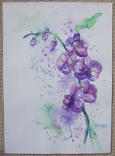 ARTFINDER: Orchids 2 by Sophie  Penstone - A very loose study in watercolour of Orchids with detail in black permanent fineliner. Not framed
