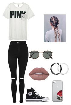 """""""Untitled #221"""" by britney-pitts ❤ liked on Polyvore featuring Topshop, Victoria's Secret, Converse, Lime Crime, Lokai and Ray-Ban"""