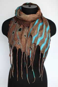 by Marina Shkolnik     - Nuno Felted Scarf Custom    50/50 Australian merino wool / mulberry silk, ponge silk fabric