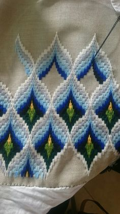 By frances derbyshire november 2017 using dmc threads bargello florentine stitch longstitch embroidery tapestry – Artofit Hardanger Embroidery, Ribbon Embroidery, Cross Stitch Embroidery, Embroidery Patterns, Knitting Patterns, Broderie Bargello, Bargello Needlepoint, Free Swedish Weaving Patterns, Popsicle Stick Crafts