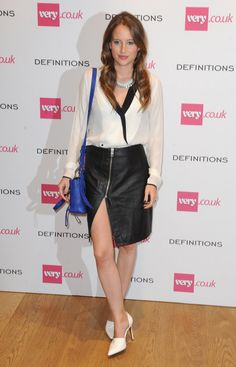 Pin for Later: All the Made in Chelsea Girls' Finest Fashion Moments  A cobalt bag lifted Rosie's monochromic look at a party for fashion brand Very. We love her zipped AllSaints skirt.