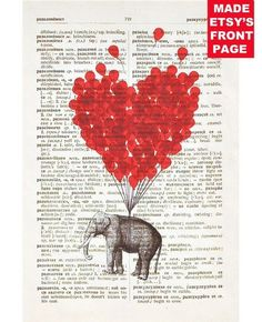 ORIGINAL Vintage DICTIONARY Art Print  - use your finger print for red balloons