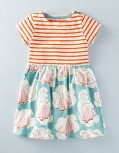 Shop Spring 2016 Girl's Dresses at Boden USA | Boden - Hotchpotch Jersey Dress (Pool Sailboats) $44.50