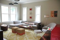 Contemporary Living Room Project--paint Benjamin Moore Coastal Fog