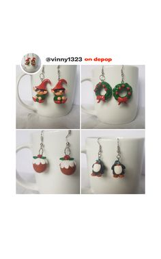Miniature Christmas, Polymer Clay Earrings, Miniatures, Drop Earrings, Jewelry, Jewlery, Jewels, Jewerly, Jewelery