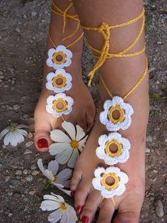 FLOWER GARDEN handmade crocheted barefoot sandals yellow with white flowers. $13.00, via Etsy.