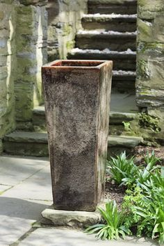 Karena Tall Square Planter in Ice Coffee by Campania International