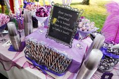 Graduation candy buffet. After 5 Events Buffalo NY #customcandybuffets #purplecandybuffet #purplecandytable #graduationparty
