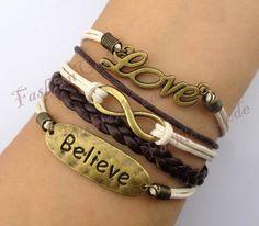 Love,Infinity & Believe Bracelet--Antique Bronze Bracelet--Wax Cords and Imitation Leather Bracelet--Best Chosen Gift. $6.99, via Etsy.