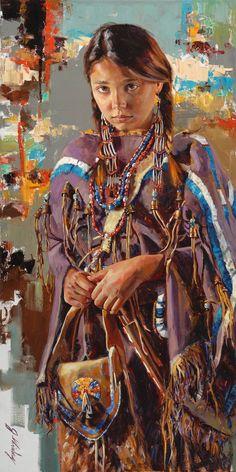 Jeremy Winborg at Western Art Week Native American Paintings, Native American Pictures, Native American Artists, Native American Indians, Indian Paintings, Abstract Paintings, Art Paintings, American Indian Girl, Native American Children