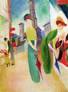 August Macke, Mujeres delante de una sombrerería, 1913. Óleo sobre lienzo, 60.6 x 46.5 cm, Colección particular