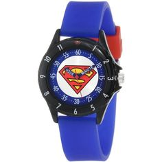 Superman Boys' SUP9044 Time Teacher Superman Watch with Blue Silicone... ($9.99) ❤ liked on Polyvore featuring jewelry, watches, bracelets, accessories, silicone watches, superman jewelry, analog watches, bezel jewelry and superman watches