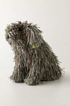 """Newsy Puli Dog by Roost: Made of tendrils of recycled newspaper! 12"""" x 9"""" x 13"""". $168 by tisha"""