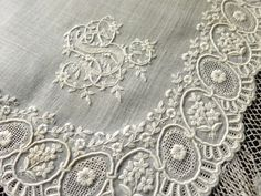 GORGEOUS Antique HANDKERCHIEF Monogram WHITEWORK EMBROIDERY Handmade LACE French in Antiques, Linens & Textiles (Pre-1930), Handkerchiefs   eBay