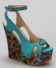 Take a look at this Bumper Blue Lea-14 Wedge Sandal by Bumper on #zulily today!
