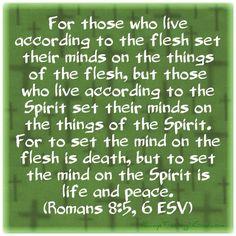 Verse Of The Day- Romans 8:5,6 AlwaysTrustingInGod.com