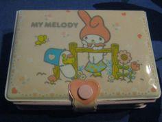 Vintage 1976 Sanrio My Melody Hello Kitty Plastic Puff Case w/ Mirror - So Cute!