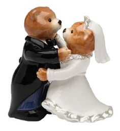 Teddy Bear Bride in Wedding Robe and Groom Salt and Pepper Shakers * Click image to review more details.