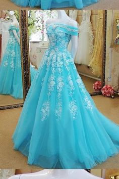 Off-the-shoulder Floor-length Short Tulle Prom Dress,A Line Long Tulle Lace Evening Dress,Long Tulle Blue Lace Prom Dress,Off the Shoulder Lace Prom Dress,Long Tulle Blue Lace Evening Dress