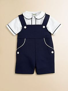 Florence Eiseman Infant's Two-Piece Pique Shirt & Shortall Set