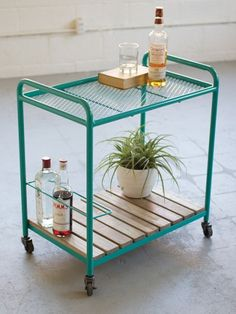 Turquoise Rolling Bar Cart 461x614
