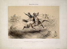 ENLÈVEMENT D'HÉLÈNE, VIVANDIÈRE AU 17E LÉGER. CHEVAUX ARABES. CHEVAUX DE RACES DE TOUS PAYS   Jeannin, c.1838  Colored lithograph by and aft...