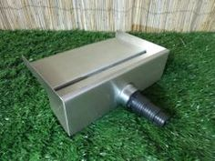 Stainless Steel Water Blade with spout overhang - BSP threaded socket back inlet. Supplied with multi step plastic hosetail fitting to suit pond pipe. Koi Pond Design, Landscape Design Small, Garden Design, House Design, Outdoor Water Features, Water Features In The Garden, Garden Fountains Outdoor, Water Fountains, Swimming Pool Waterfall