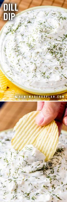 This easy dill dip goes great with chips, veggies, or bread and can be thrown together in flash. Great for holidays, sports parties, or a movie night! Dill Dip Recipes, Party Dip Recipes, Snacks Für Party, Easy Snacks, Potato Recipes, Pasta Recipes, Crockpot Recipes, Soup Recipes, Cold Snacks